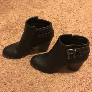 Charlotte Russe black buckled zip up half boots